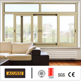 Aluminium Champagne Color Sliding Window Breaking Bridge with Fly Net for Villa