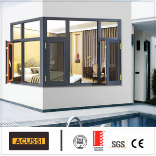 Aluminum Hollow Glass Simplicity Casement Window for Balcony Building Project