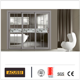 USA Style High Quality White Color PVC Sliding Door with Tempered Laminated Glass