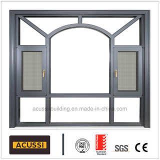 Aluminium Classic Black Casement Sliding Window with Grills/Mosquito Net